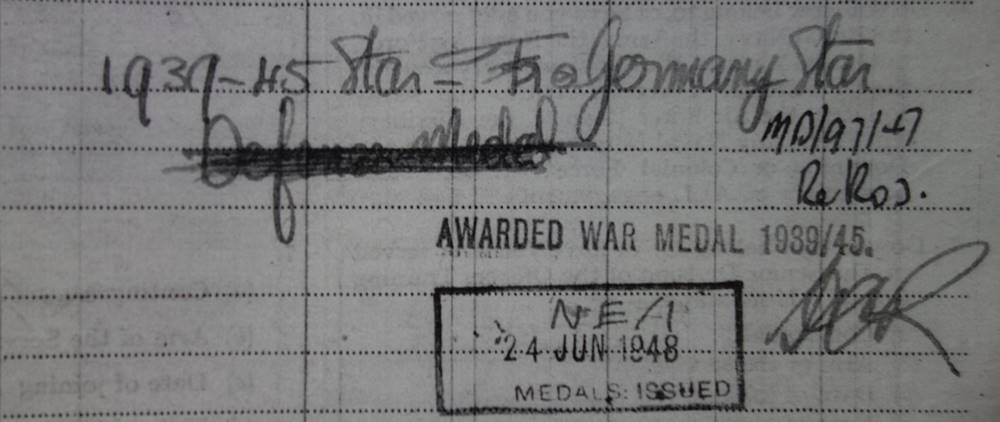 WW2 British Army Medal Records