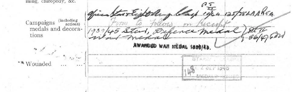 1939-45 Star Medal Record